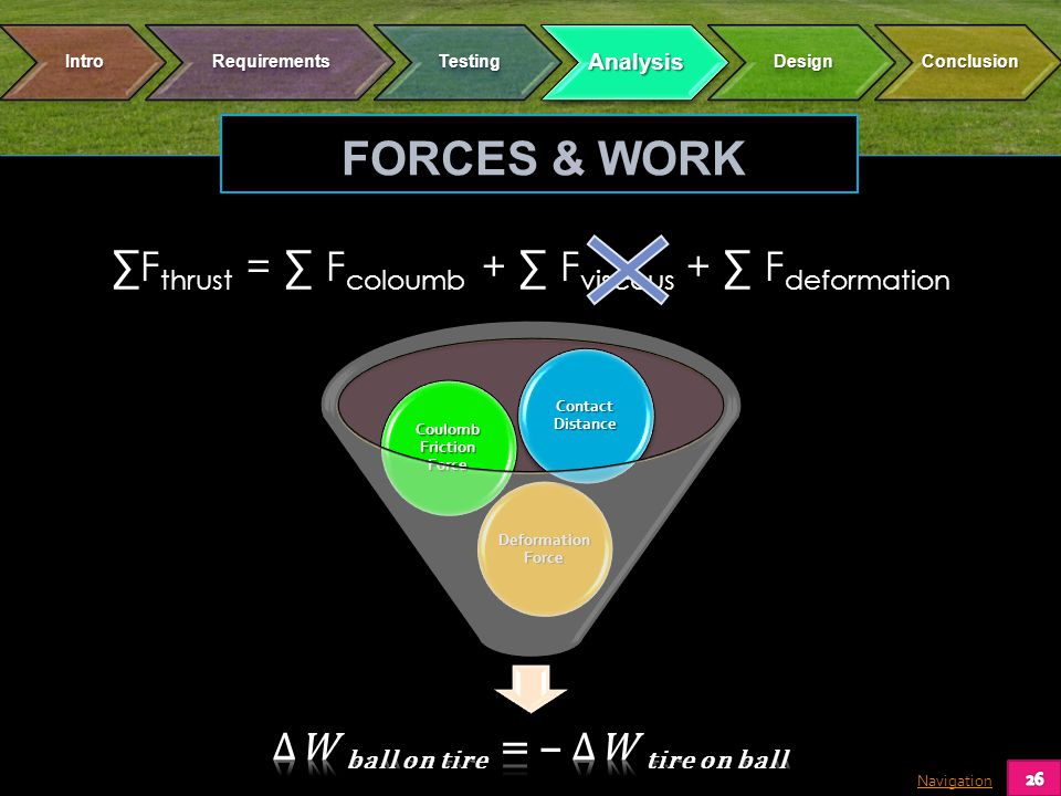 Navigation F thrust = F coloumb + F viscous + F deformation Deformation Force Coulomb Friction Force Contact Distance FORCES & WORK