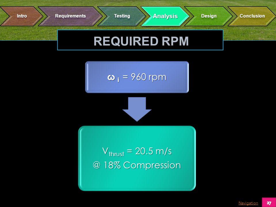 Navigation ω i = 960 rpm Vthrust = 20.5 m/s @ 18% Compression REQUIRED RPM
