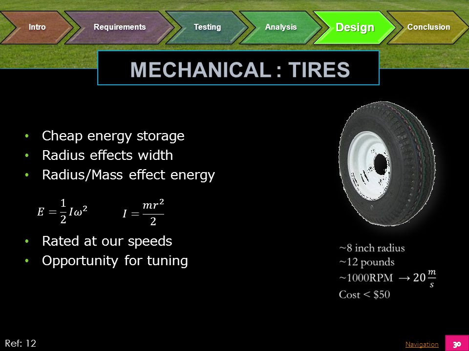 Navigation MECHANICAL : TIRES Cheap energy storage Radius effects width Radius/Mass effect energy Rated at our speeds Opportunity for tuning Ref: 12