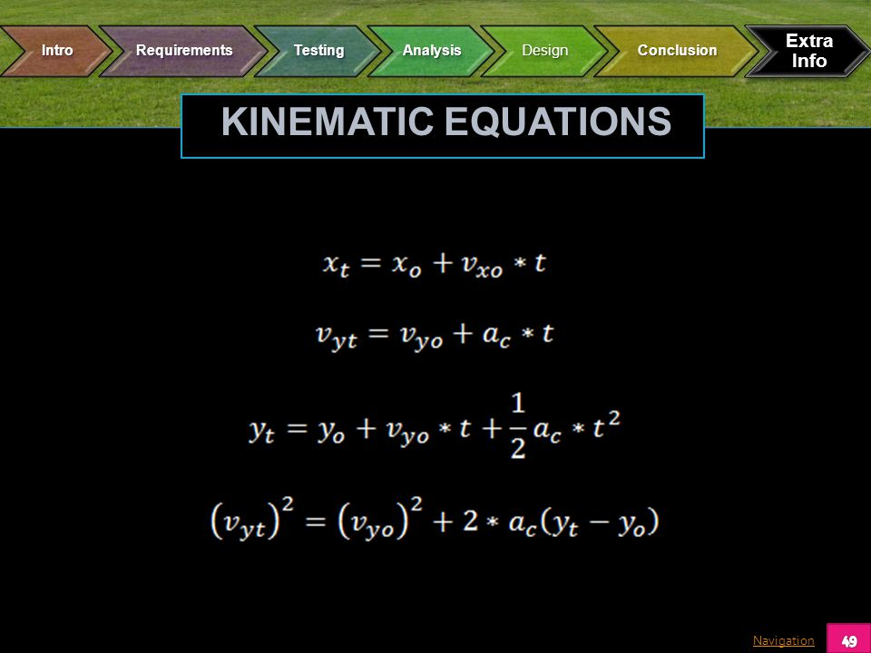 Navigation KINEMATIC EQUATIONS