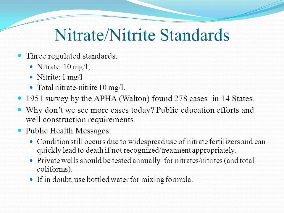 Nitrate/Nitrite Standards Three regulated standards: Nitrate: 10 mg/l; Nitrite: 1 mg/l Total nitrate-nitrite 10 mg/l.
