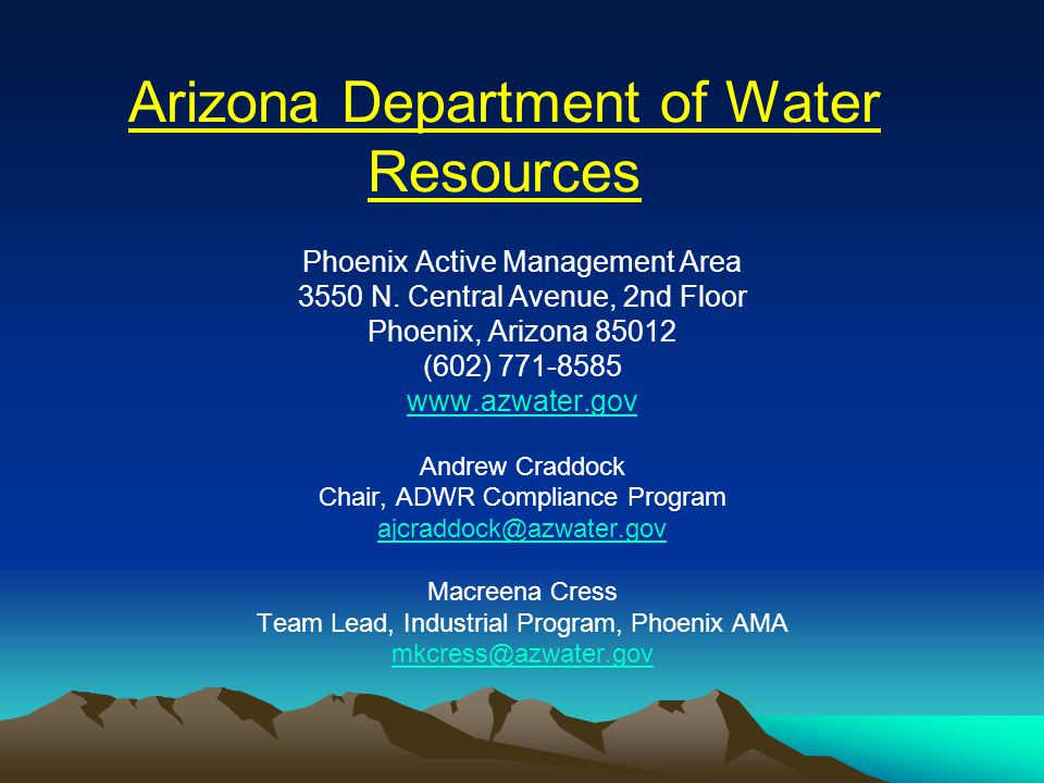 Arizona Department of Water Resources Phoenix Active Management Area 3550 N.
