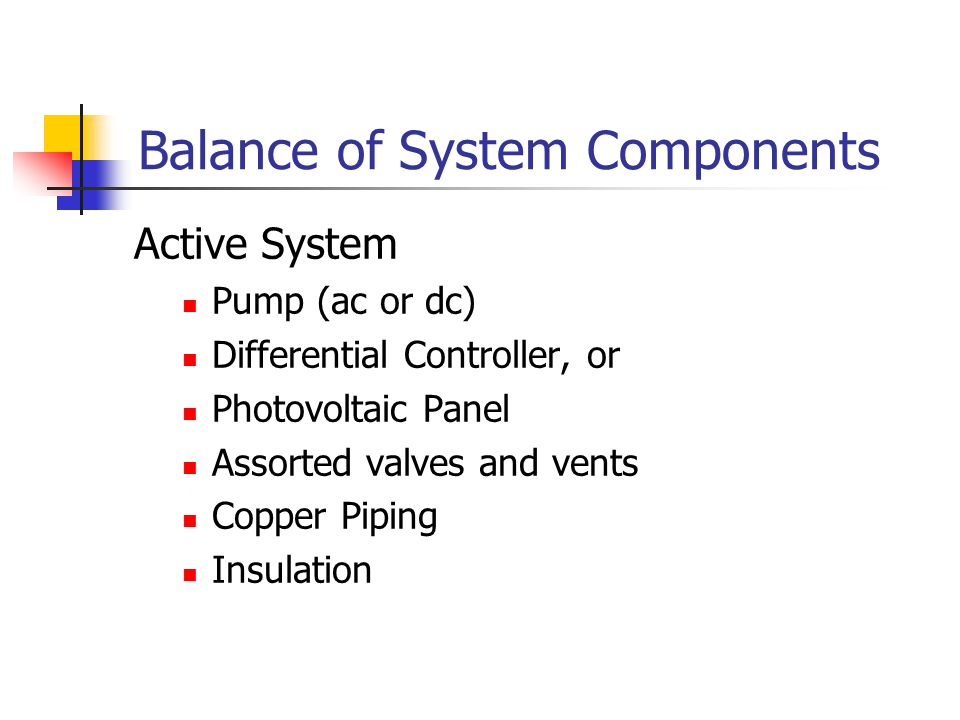 Balance of System Components Active System Pump (ac or dc) Differential Controller, or Photovoltaic Panel Assorted valves and vents Copper Piping Insulation