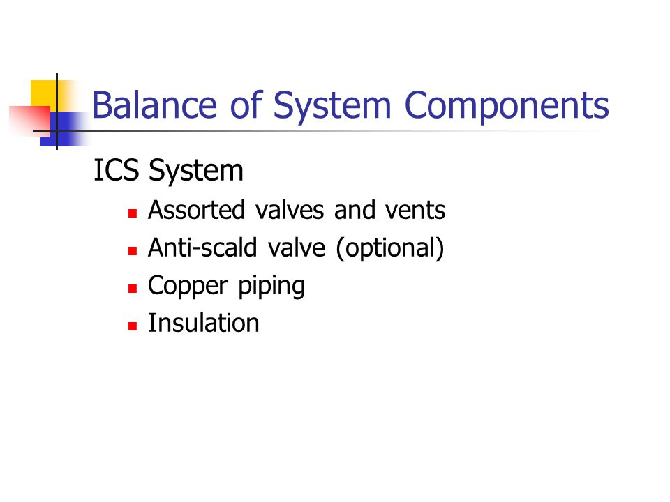 Balance of System Components ICS System Assorted valves and vents Anti-scald valve (optional) Copper piping Insulation