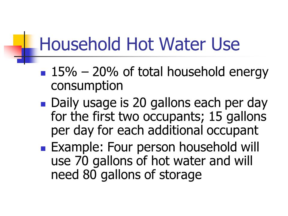 Household Hot Water Use 15% – 20% of total household energy consumption Daily usage is 20 gallons each per day for the first two occupants; 15 gallons per day for each additional occupant Example: Four person household will use 70 gallons of hot water and will need 80 gallons of storage