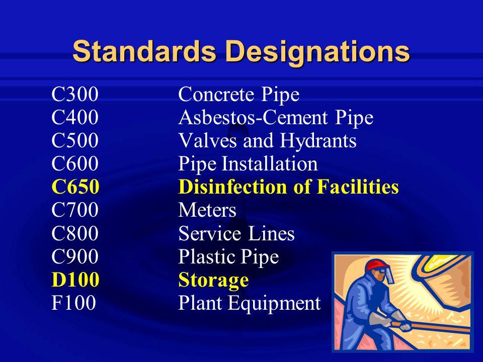 Standards Designations C300Concrete Pipe C400Asbestos-Cement Pipe C500Valves and Hydrants C600Pipe Installation C650Disinfection of Facilities C700Meters C800Service Lines C900Plastic Pipe D100Storage F100Plant Equipment