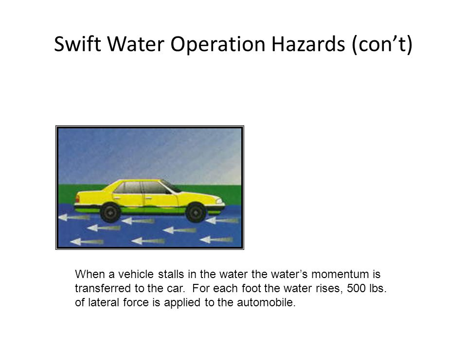 Swift Water Operation Hazards (cont) When a vehicle stalls in the water the waters momentum is transferred to the car. For each foot the water rises,