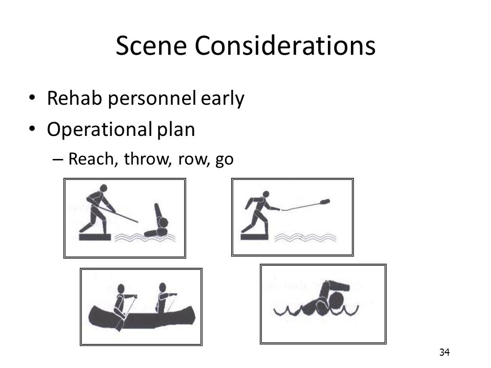 34 Scene Considerations Rehab personnel early Operational plan – Reach, throw, row, go
