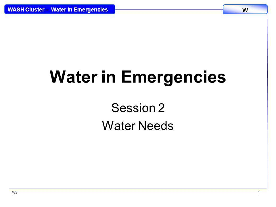 WASH Cluster – Water in Emergencies W W2 2 Water needs Water quantity Water quality International Sphere minimum standards Water needs of different users