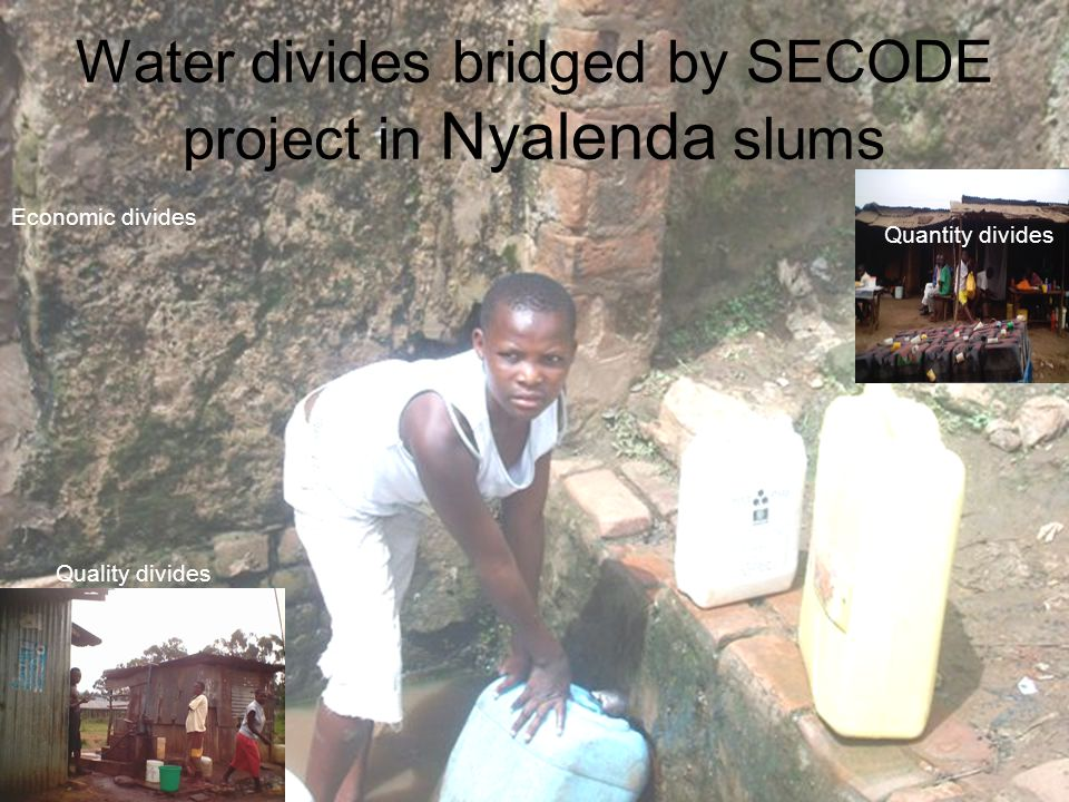 Water divides bridged by SECODE project in Nyalenda slums Quantity; Distance to access water reduced from 1.5 Kilometers to about 500 meters.