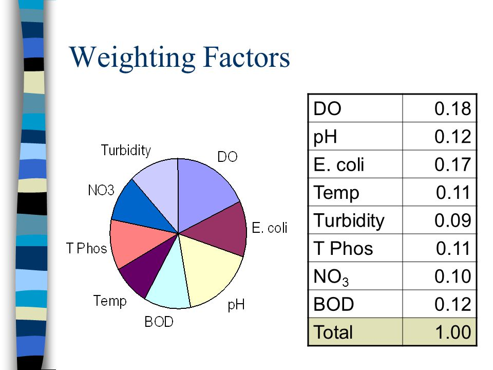 Weighting Factors DO0.18 pH0.12 E. coli0.17 Temp0.11 Turbidity0.09 T Phos0.11 NO 3 0.10 BOD0.12 Total1.00