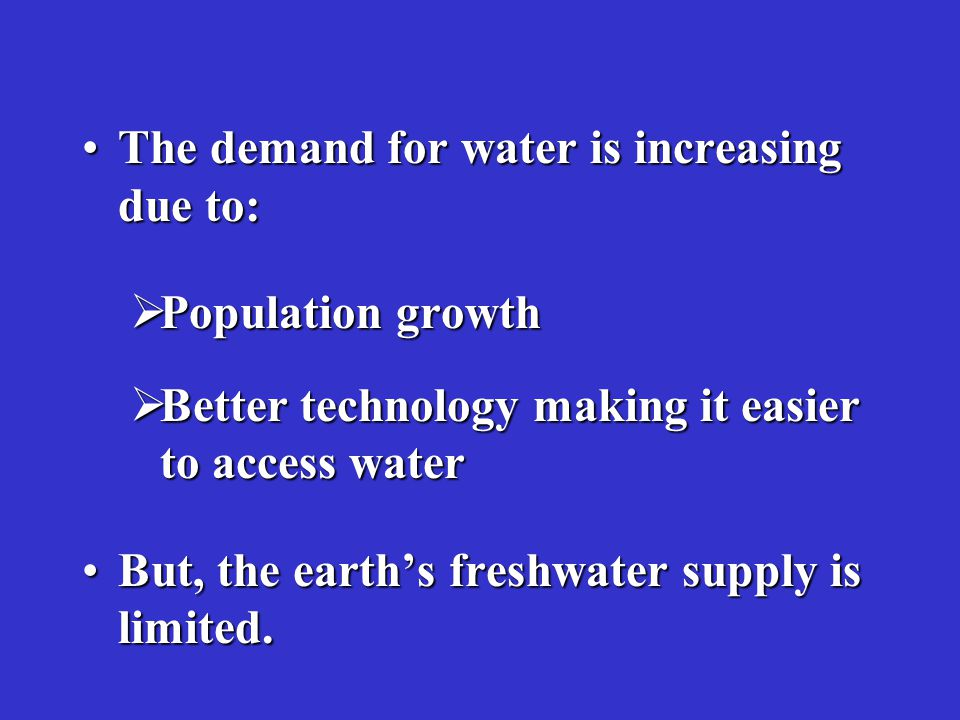 Reasons for Overuse of Groundwater According to the United Nations Environment Program (UNEP) and the World Health Organization(WHO), the reasons for overuse of groundwater are: –Unclear water rights and thus unregulated extraction; –Fuel subsidies and low import duties on agricultural equipment; –High returns on cash crops; –Inefficient irrigation practices.