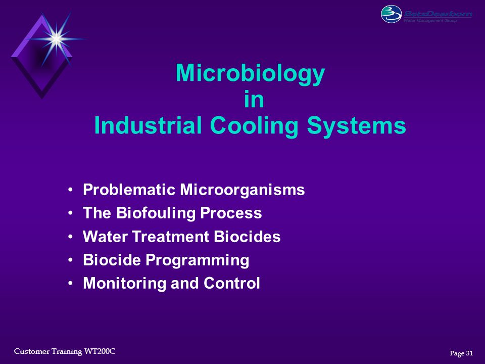 Customer Training WT200C Page 31 Microbiology in Industrial Cooling Systems Problematic Microorganisms The Biofouling Process Water Treatment Biocides