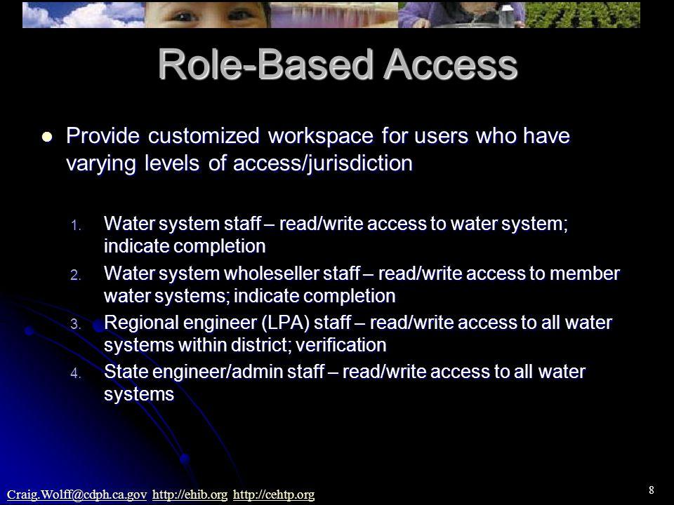8 Craig.Wolff@cdph.ca.govCraig.Wolff@cdph.ca.gov http://ehib.org http://cehtp.orghttp://ehib.orghttp://cehtp.org Role-Based Access Provide customized