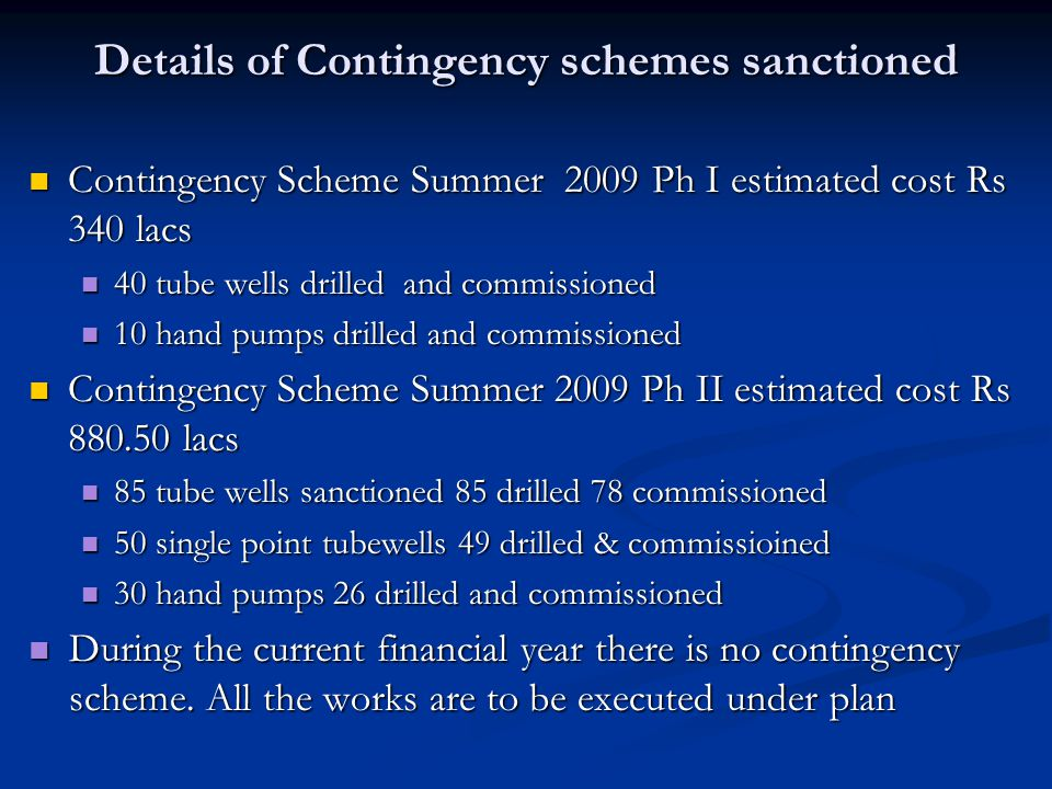 Details of Contingency schemes sanctioned Contingency Scheme Summer 2009 Ph I estimated cost Rs 340 lacs Contingency Scheme Summer 2009 Ph I estimated