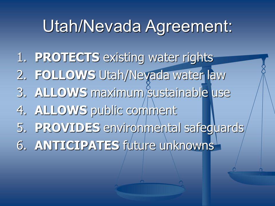 Utah/Nevada Agreement: LIMITS use of Snake Valley water resources 60,000 af (Utah) to 48,000 af (Nevada).