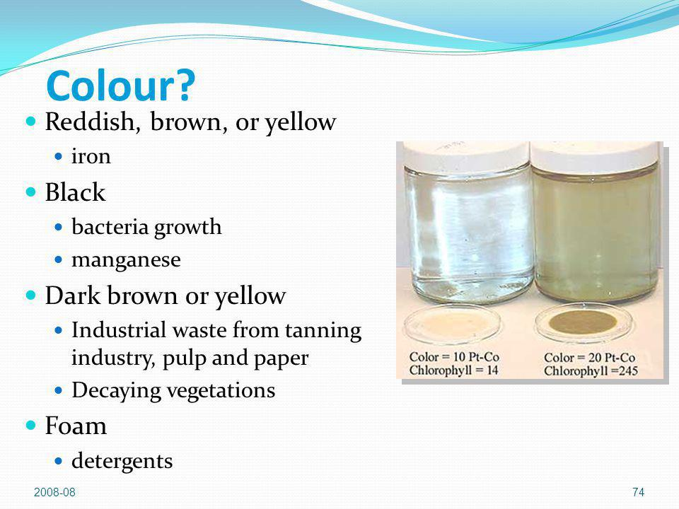 2008-0874 Colour? Reddish, brown, or yellow iron Black bacteria growth manganese Dark brown or yellow Industrial waste from tanning industry, pulp and