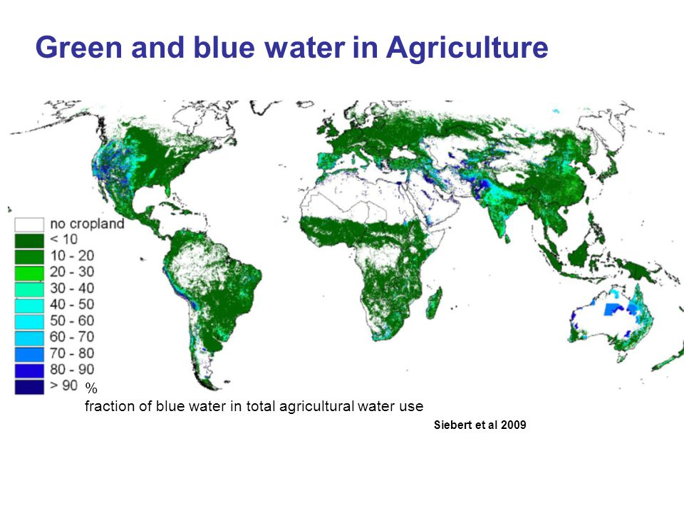 Green and blue water in Agriculture Siebert et al 2009 % fraction of blue water in total agricultural water use
