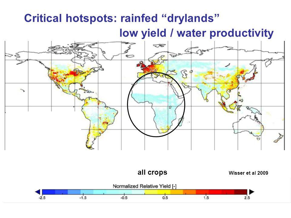 Critical hotspots: rainfed drylands low yield / water productivity all crops Wisser et al 2009