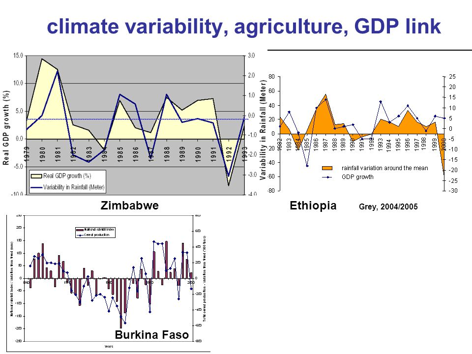 Burkina Faso ZimbabweEthiopia Grey, 2004/2005 climate variability, agriculture, GDP link