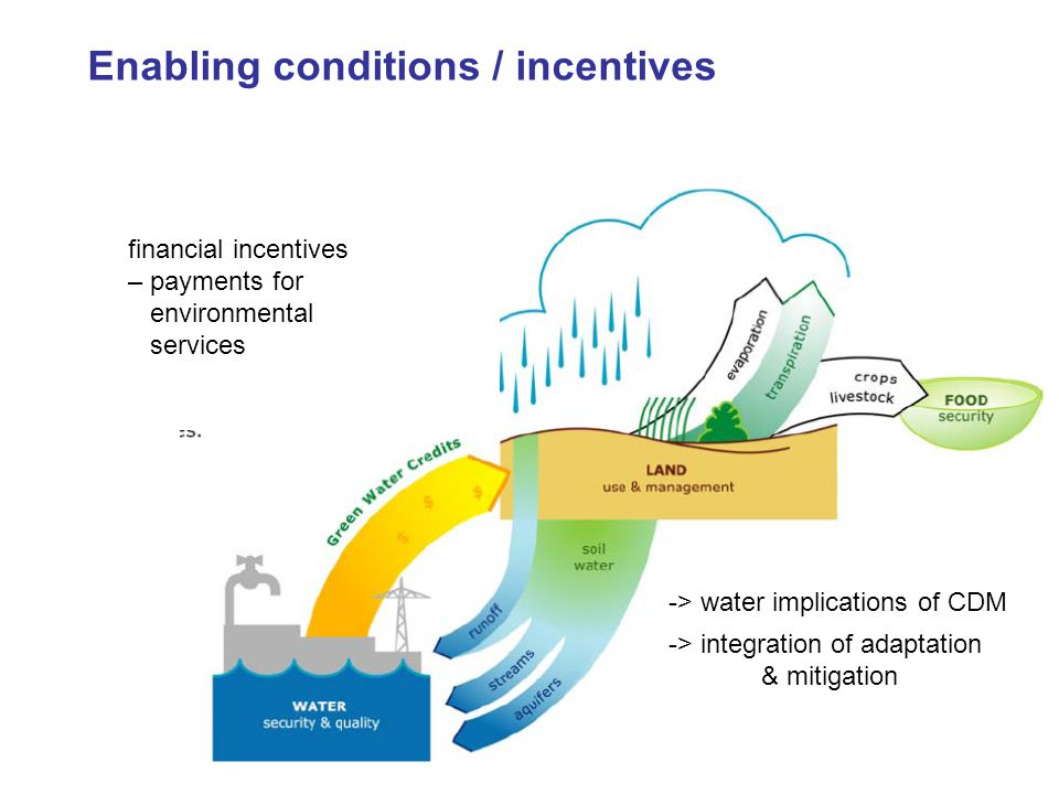 financial incentives – payments for environmental services Enabling conditions / incentives -> water implications of CDM -> integration of adaptation & mitigation