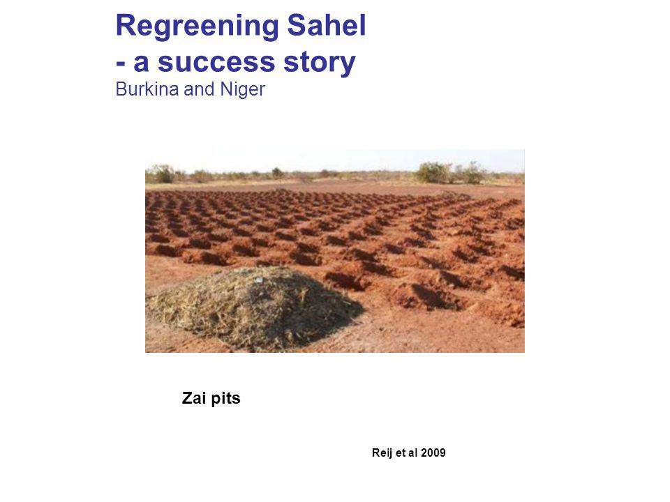 Regreening Sahel - a success story Burkina and Niger Reij et al 2009 Zai pits