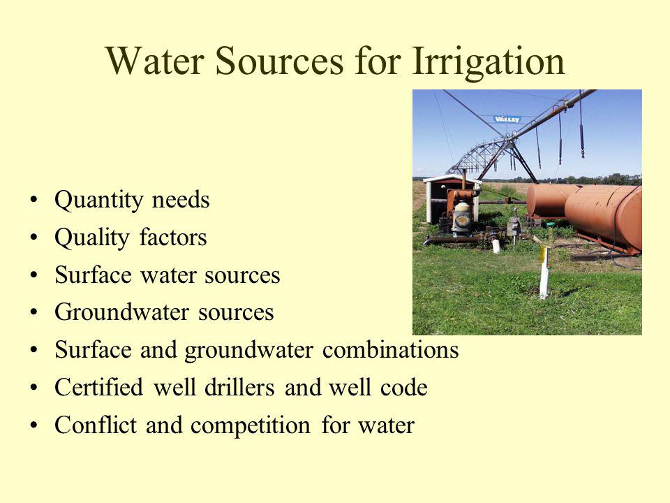 Water Sources for Irrigation Quantity needs Quality factors Surface water sources Groundwater sources Surface and groundwater combinations Certified well drillers and well code Conflict and competition for water