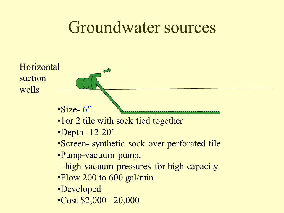 Groundwater sources Horizontal suction wells Size- 6 1or 2 tile with sock tied together Depth- 12-20 Screen- synthetic sock over perforated tile Pump-vacuum pump.