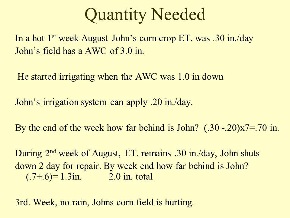 Quantity Needed In a hot 1 st week August Johns corn crop ET.