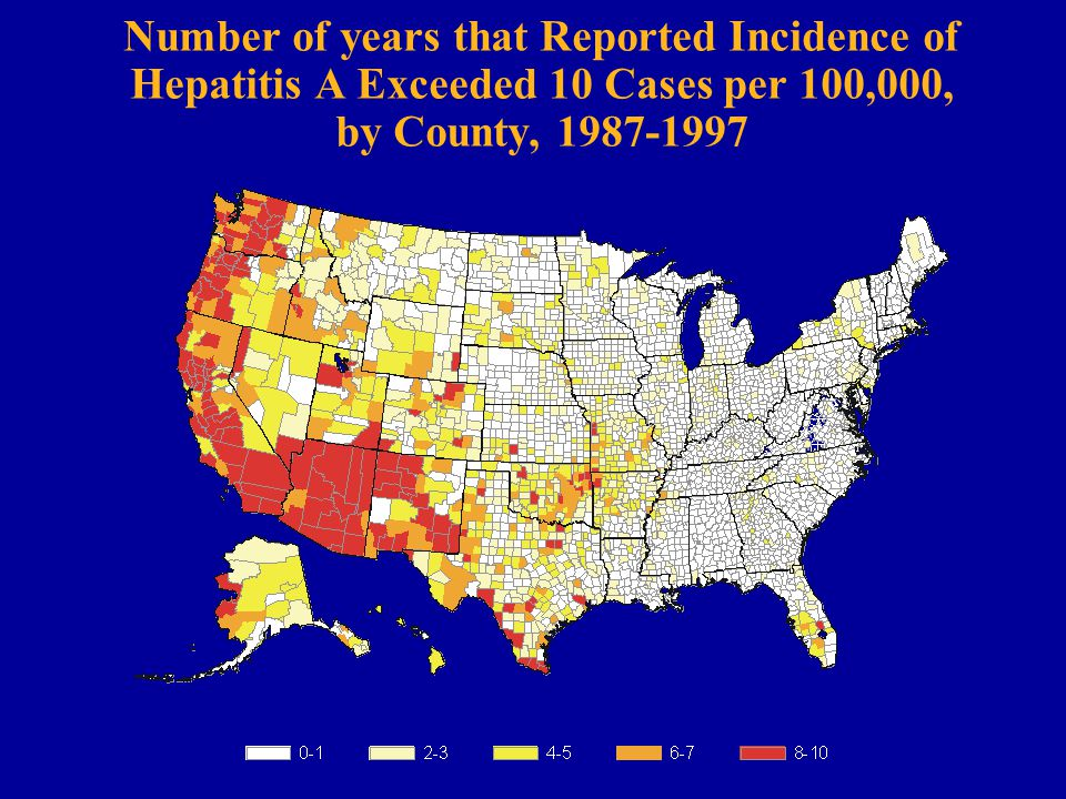 Number of years that Reported Incidence of Hepatitis A Exceeded 10 Cases per 100,000, by County, 1987-1997