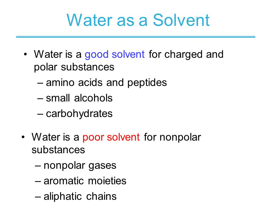 Water as a Solvent Water is a poor solvent for nonpolar substances –nonpolar gases –aromatic moieties –aliphatic chains Water is a good solvent for ch