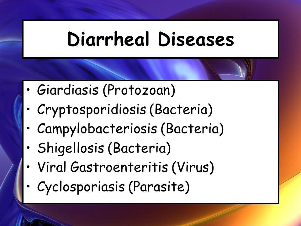 Diarrheal Diseases Giardiasis (Protozoan) Cryptosporidiosis (Bacteria) Campylobacteriosis (Bacteria) Shigellosis (Bacteria) Viral Gastroenteritis (Virus) Cyclosporiasis (Parasite)