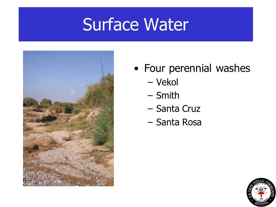 Surface Water Four perennial washes –Vekol –Smith –Santa Cruz –Santa Rosa