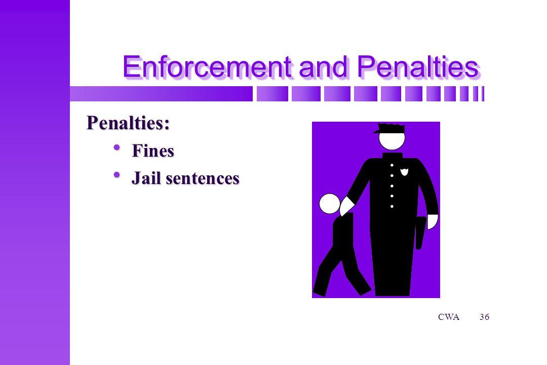 CWA36 Enforcement and Penalties Penalties: Fines Fines Jail sentences Jail sentences