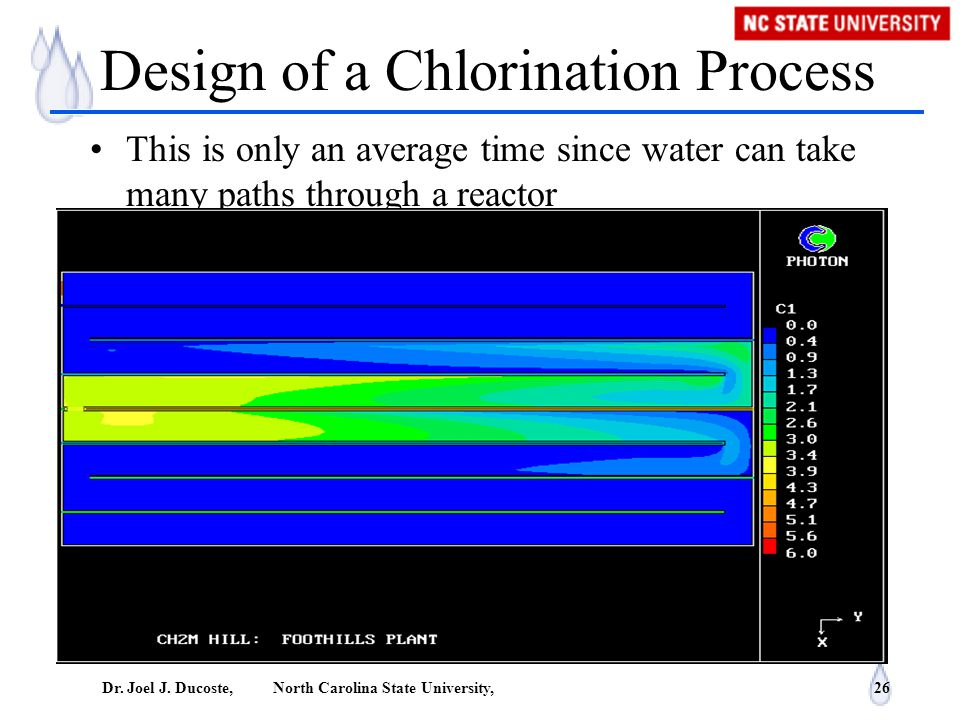 Dr. Joel J. Ducoste, North Carolina State University, 26 Design of a Chlorination Process This is only an average time since water can take many paths