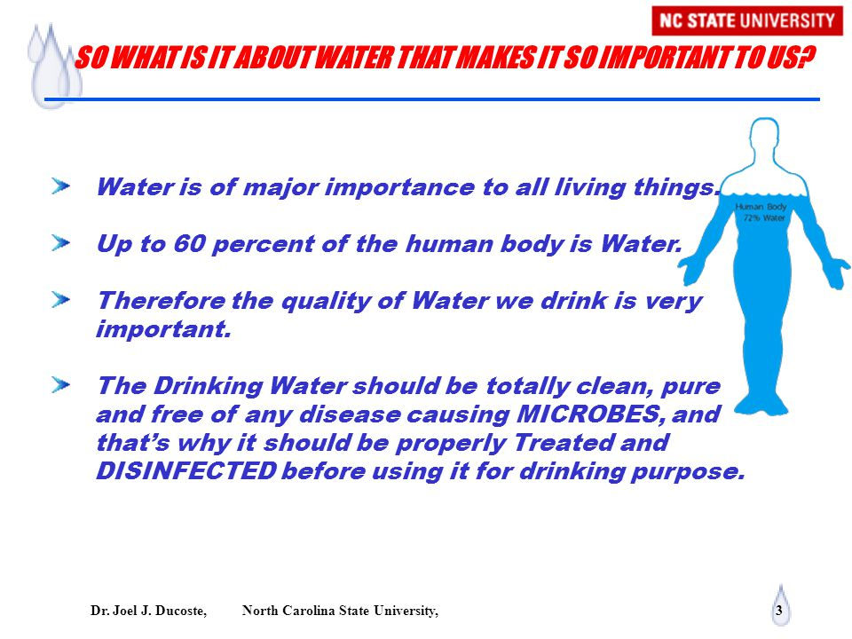 Dr. Joel J. Ducoste, North Carolina State University, 3 Water is of major importance to all living things. Up to 60 percent of the human body is Water