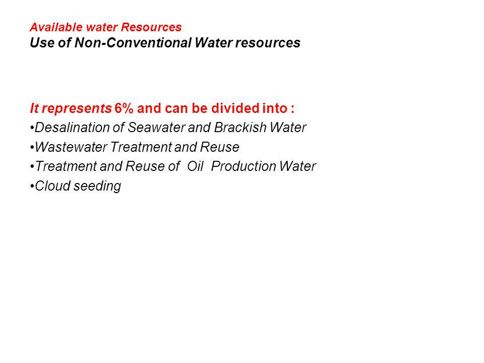 Available water Resources Use of Non-Conventional Water resources It represents 6% and can be divided into : Desalination of Seawater and Brackish Wat