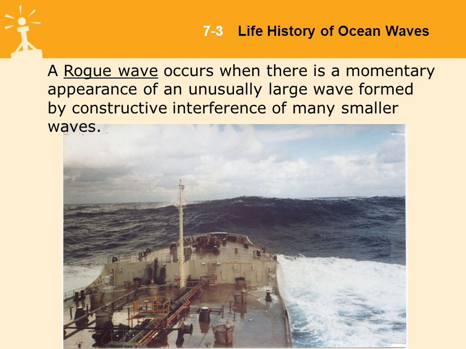 7-3Life History of Ocean Waves A Rogue wave occurs when there is a momentary appearance of an unusually large wave formed by constructive interference of many smaller waves.