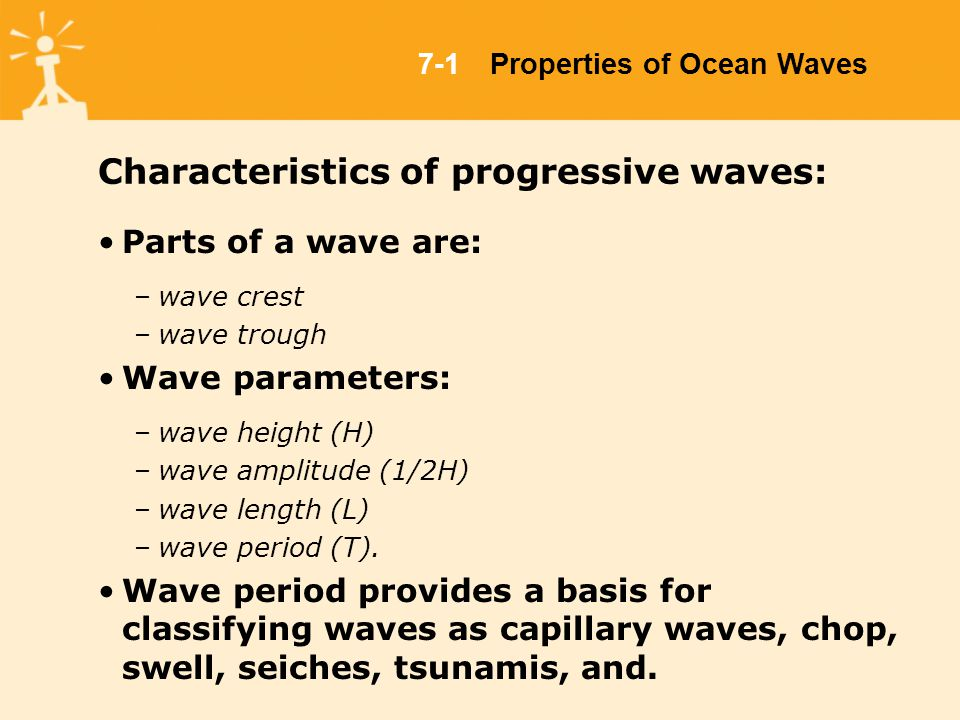 Characteristics of progressive waves: Parts of a wave are: –wave crest –wave trough Wave parameters: –wave height (H) –wave amplitude (1/2H) –wave length (L) –wave period (T).
