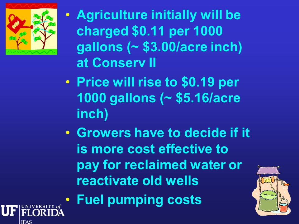 Agriculture initially will be charged $0.11 per 1000 gallons (~ $3.00/acre inch) at Conserv II Price will rise to $0.19 per 1000 gallons (~ $5.16/acre inch) Growers have to decide if it is more cost effective to pay for reclaimed water or reactivate old wells Fuel pumping costs