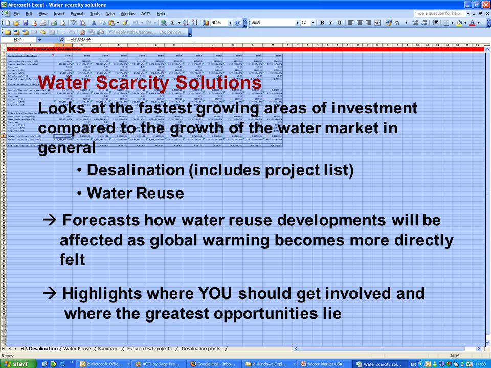 Water Scarcity Solutions Looks at the fastest growing areas of investment compared to the growth of the water market in general Desalination (includes project list) Water Reuse Forecasts how water reuse developments will be affected as global warming becomes more directly felt Highlights where YOU should get involved and where the greatest opportunities lie