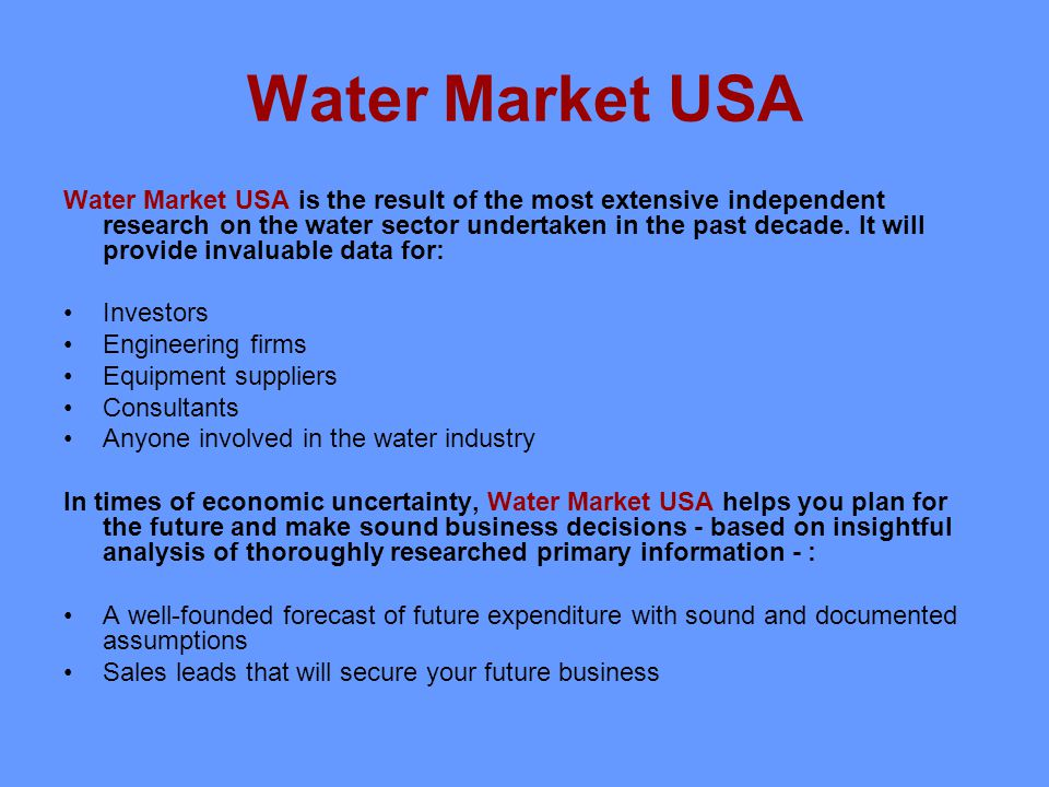 Easily digestible guide to the trends, risks and opportunities in the American water industry