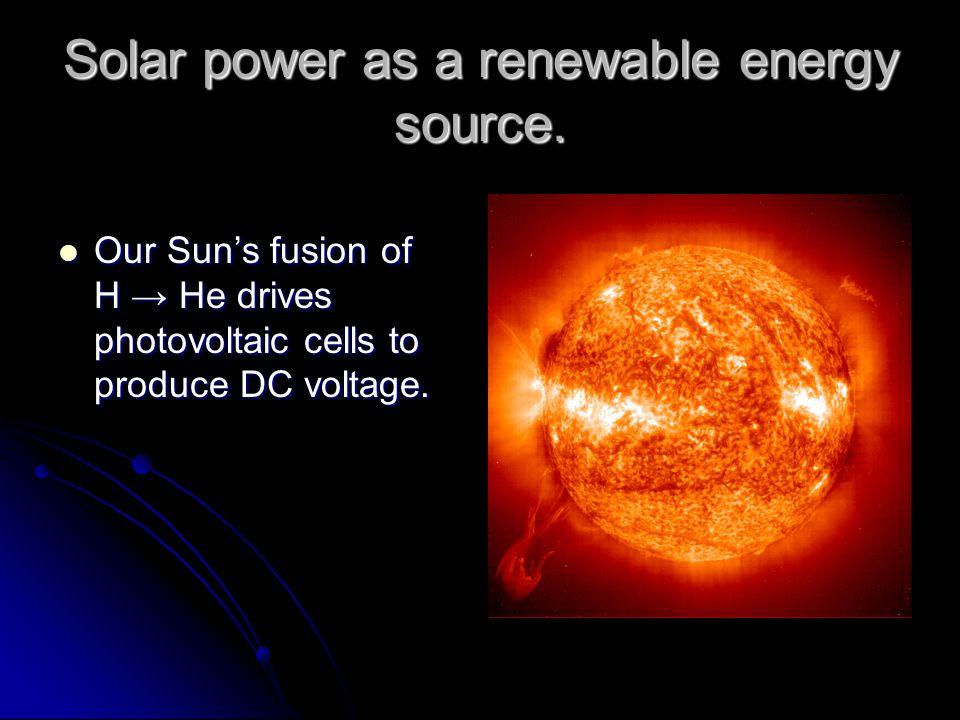Solar power as a renewable energy source.