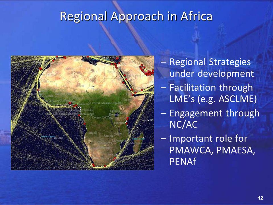 12 Regional Approach in Africa –Regional Strategies under development –Facilitation through LMEs (e.g.