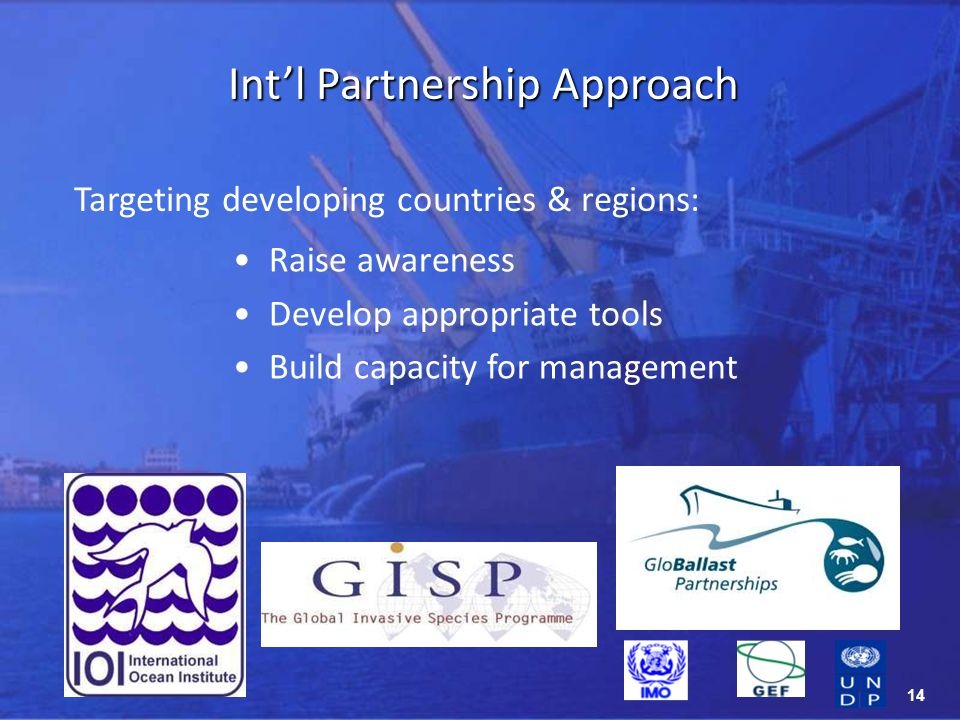14 Targeting developing countries & regions: Intl Partnership Approach Raise awareness Develop appropriate tools Build capacity for management
