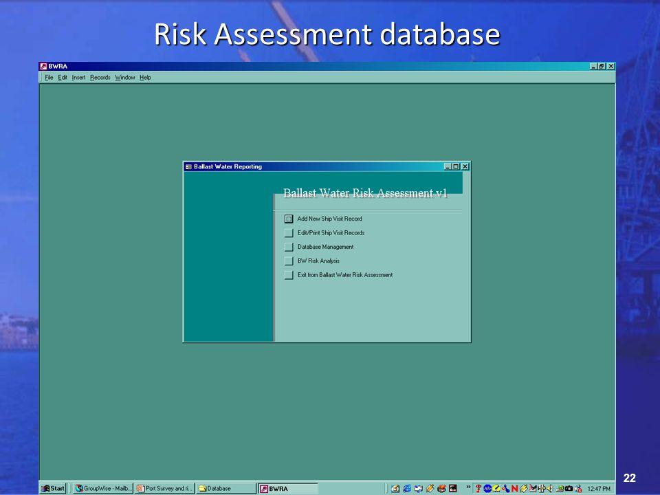22 Risk Assessment database