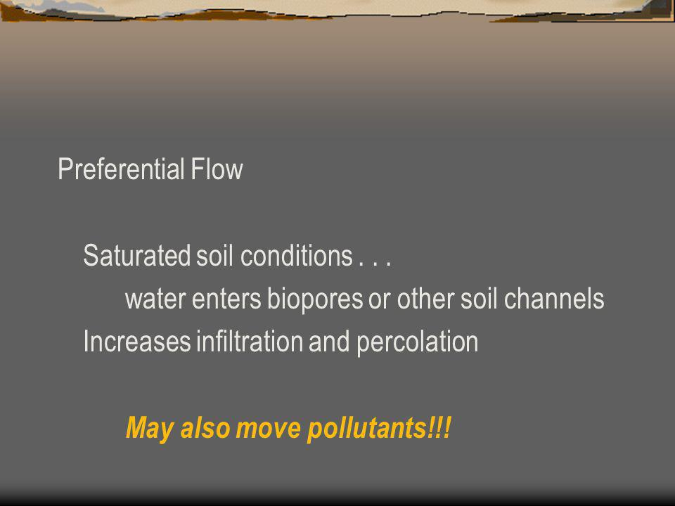 Preferential Flow Saturated soil conditions...