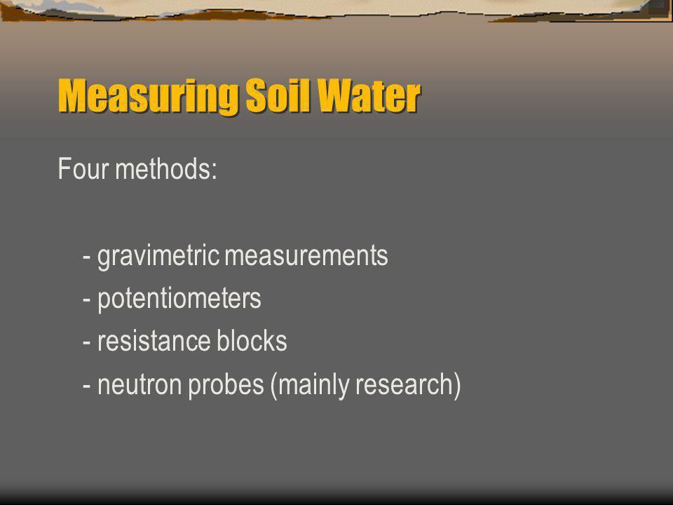 Measuring Soil Water Four methods: - gravimetric measurements - potentiometers - resistance blocks - neutron probes (mainly research)
