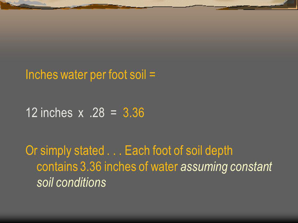 Inches water per foot soil = 12 inches x.28 = 3.36 Or simply stated...