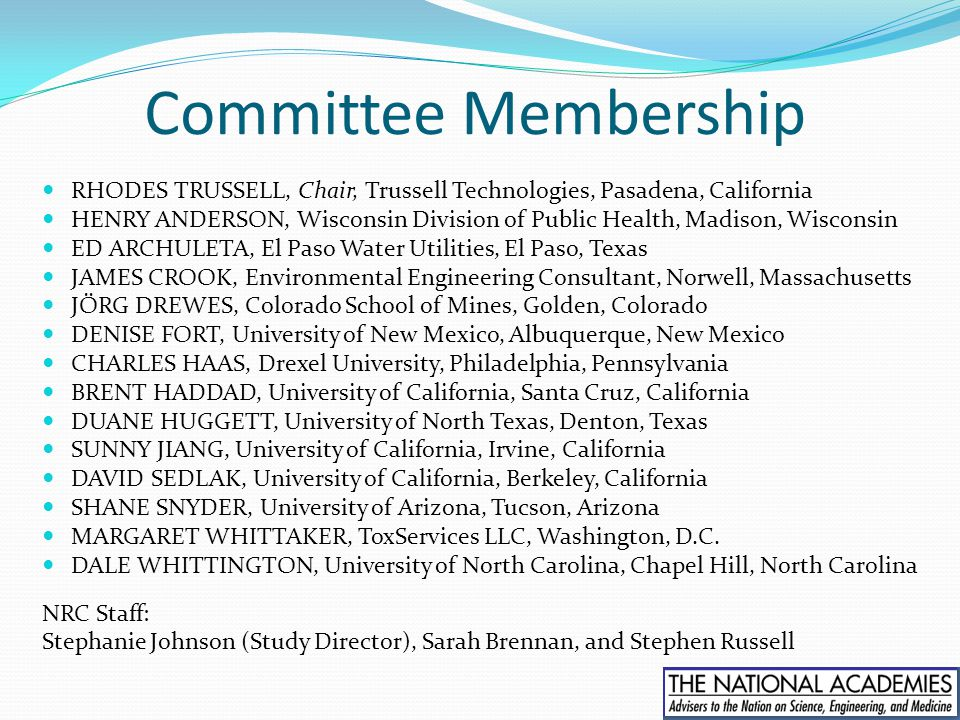 Committee Membership RHODES TRUSSELL, Chair, Trussell Technologies, Pasadena, California HENRY ANDERSON, Wisconsin Division of Public Health, Madison,